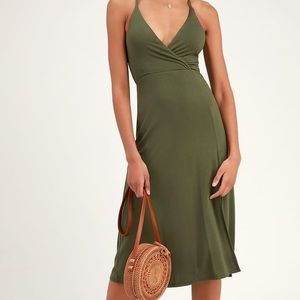 Lulus Cannon Olive Green Backless Midi Dress